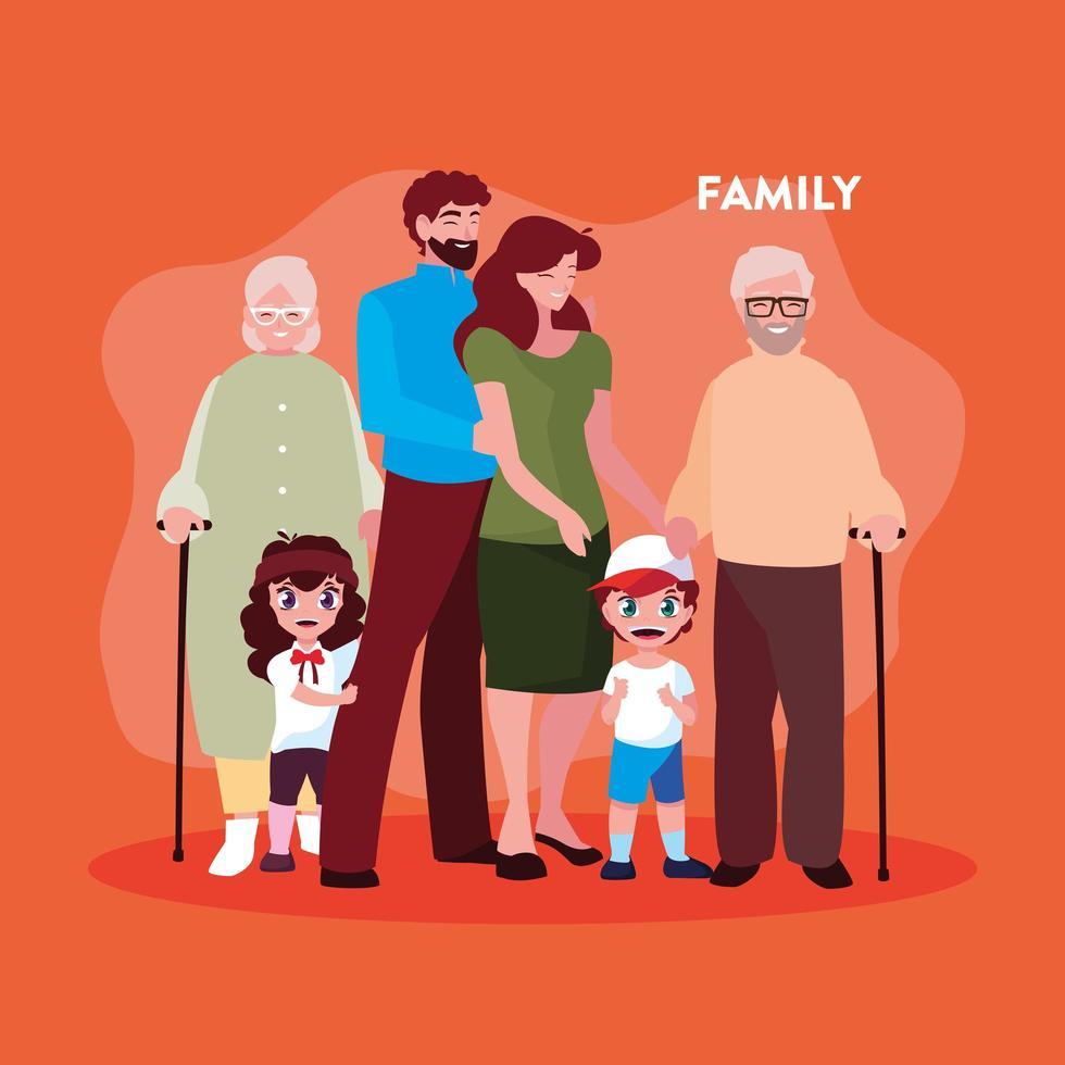 membros da família fofos em pôster vetor