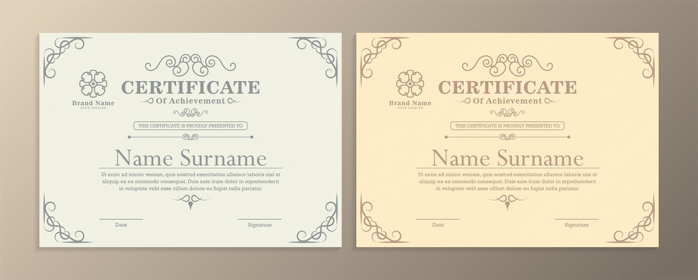 modelos de certificados de conquistas em cores claras vetor