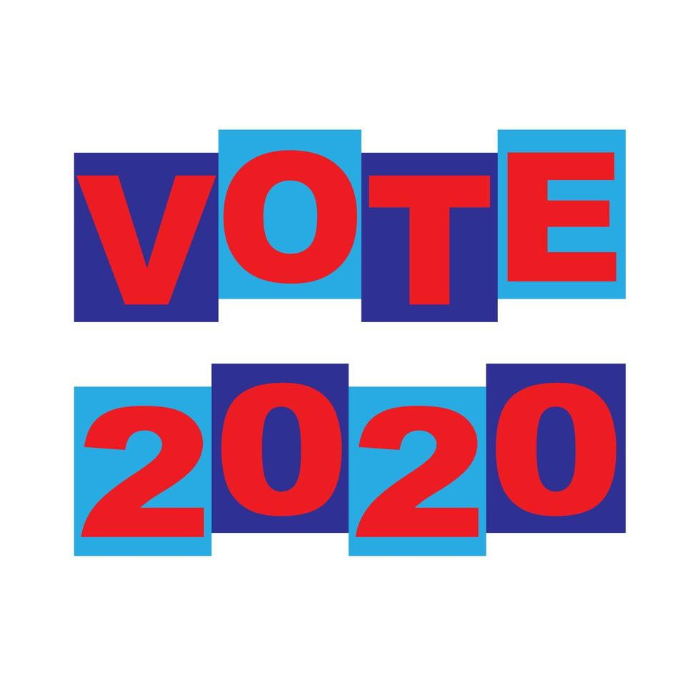 vote tipografia gráfica azul vermelho vetor