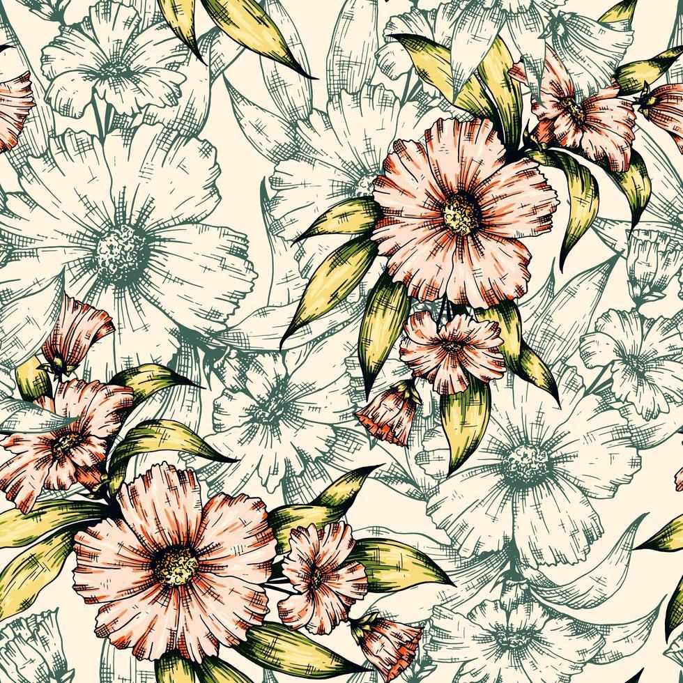 esboço floral padrão sem emenda vetor