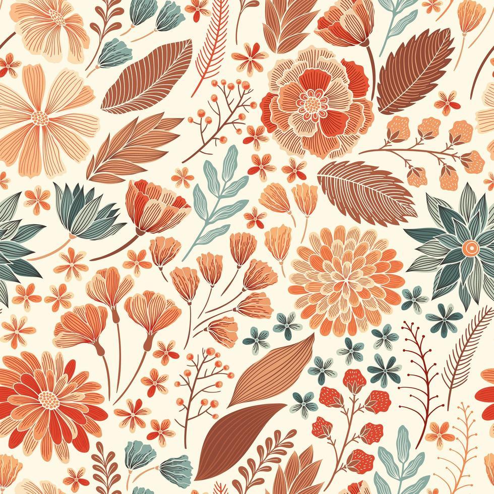 padrão floral laranja sem costura vetor