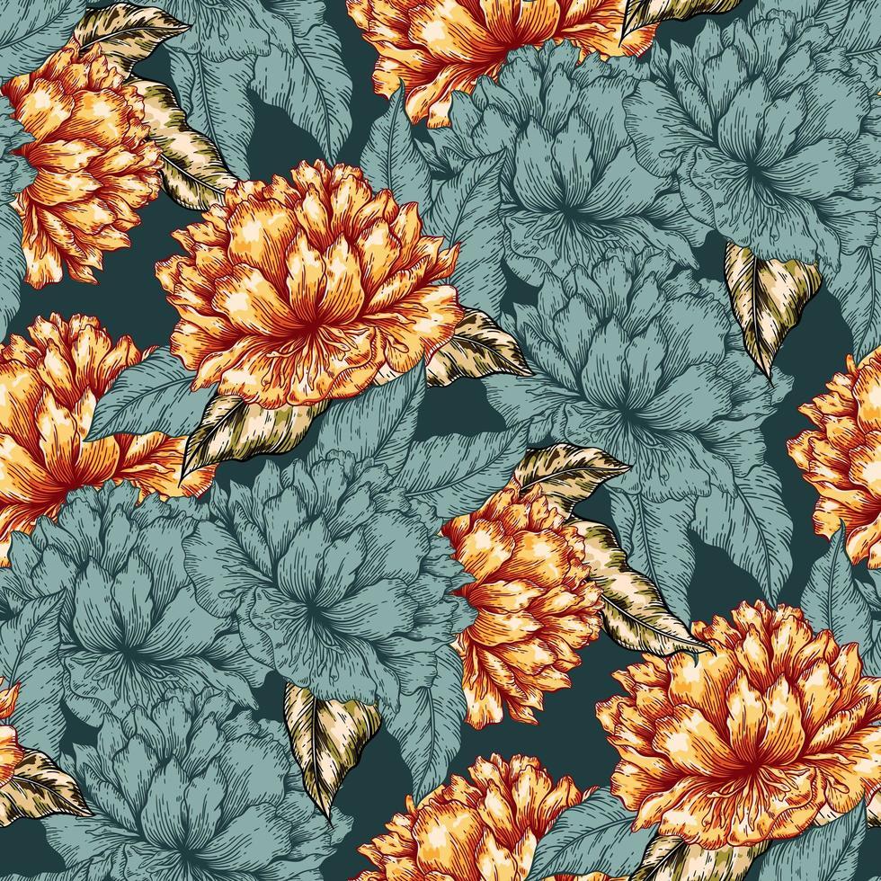padrão gráfico de flor sem costura vetor