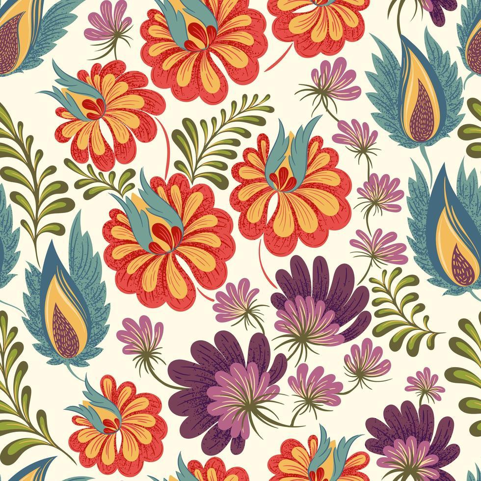 padrão floral colorido fofo vetor