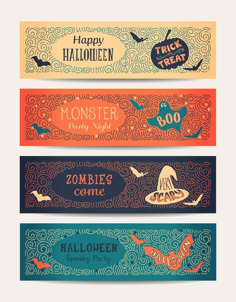 banners de festa de halloween vetor