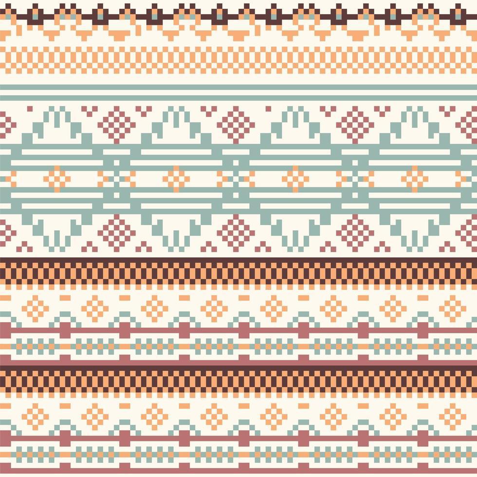 geometria tribal padrão de pixel nativo vetor