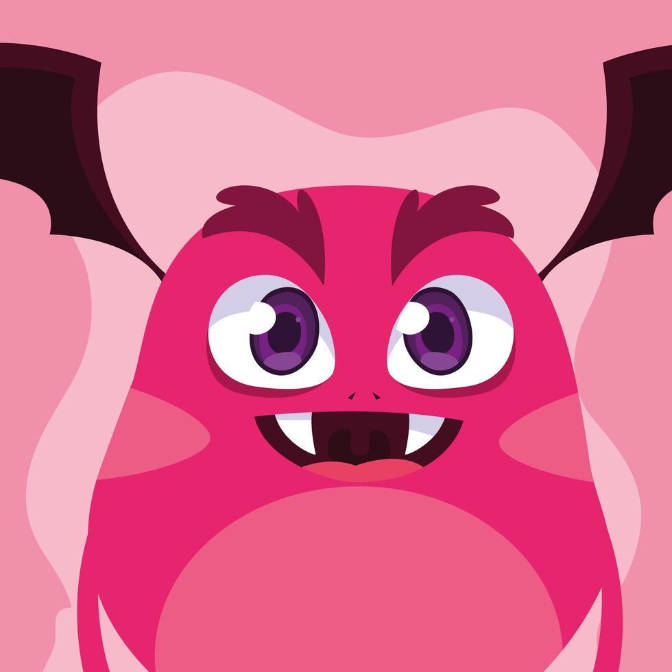 ícone de desenho de monstro rosa vetor