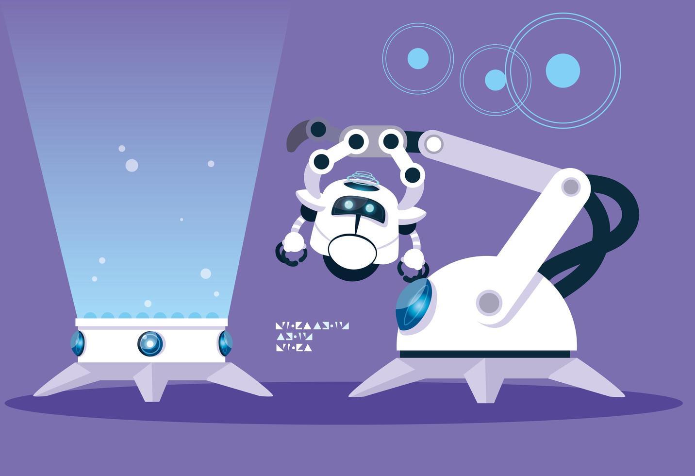 cartoon de tecnologia sobre fundo roxo vetor