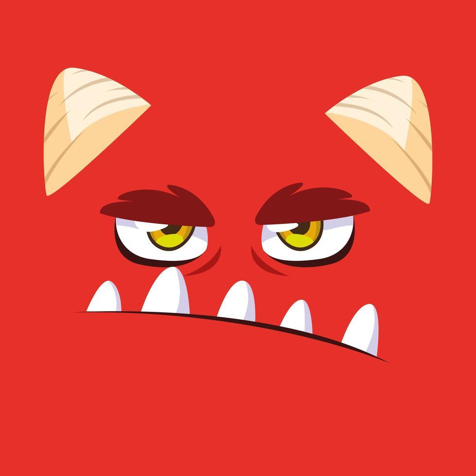 ícone de desenho de monstro vermelho vetor