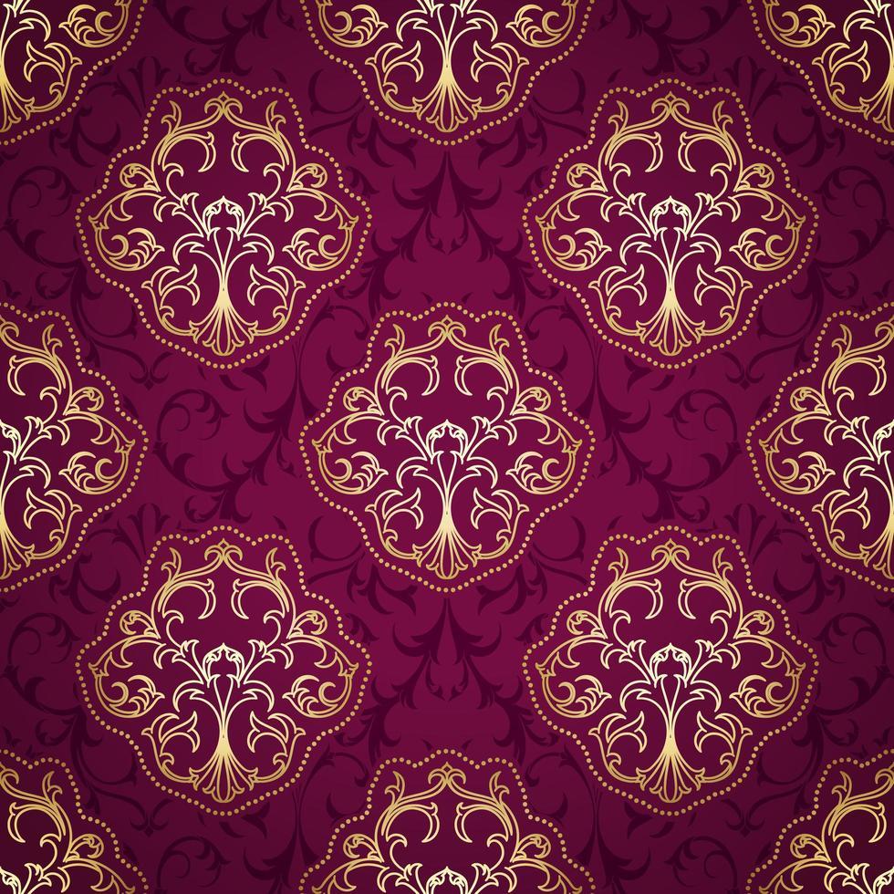 padrão damasco roxo e dourado sem costura vetor