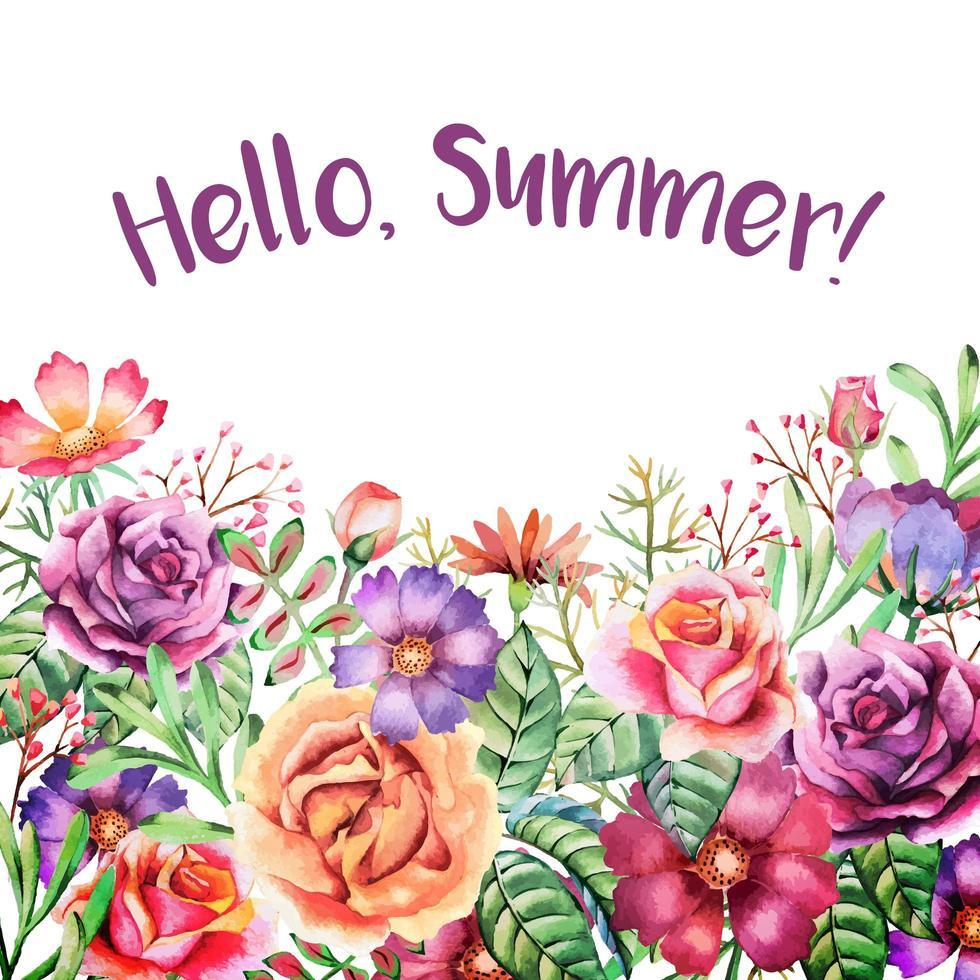 cartão de borda colorida em aquarela de flores de verão vetor