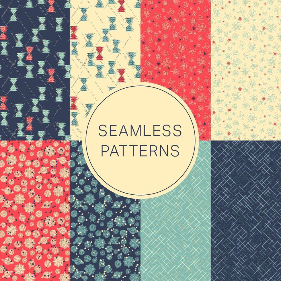 coleção de padrões sem costura azul, vermelho e amarelo vetor