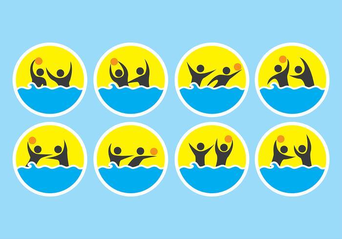 Ícones de pólo aquático vetor