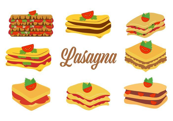 Ilustração tradicional tradicional de vetor de Lasanha de comida italiana tradicional