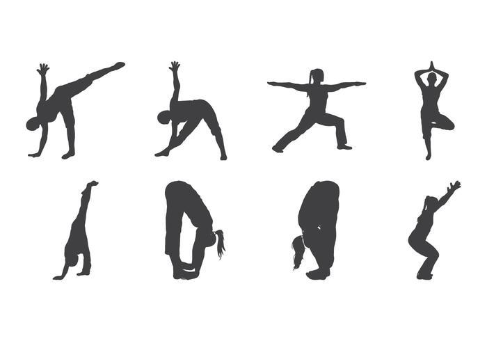 Vector de silhueta de yoga grátis