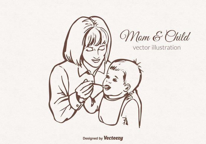Vector livre Ilustração da mãe e da criança