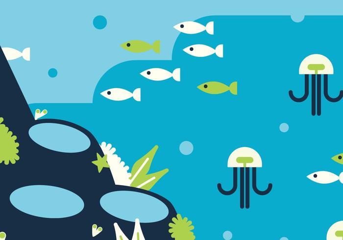 Fundo azul e verde do mar vetor