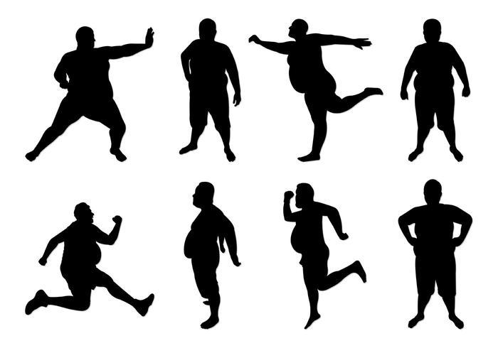 Conjunto de Silhuetas Fat Guy vetor
