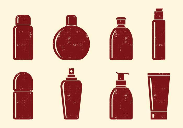 Ícones de garrafas de cosméticos vetor