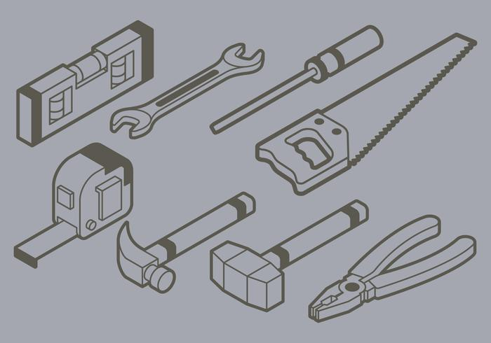 Ícone isometric diy tools vetor