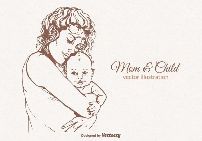 Ilustração vetorial gratuita da mãe e da criança vetor