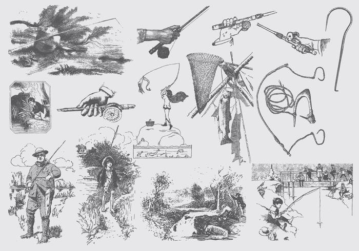 Ilustrações de Rod Pesca Cinzenta vetor