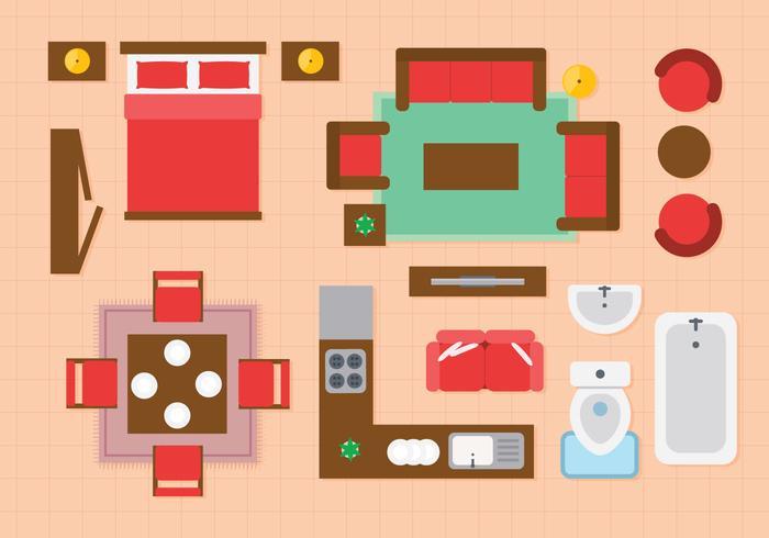 Ícones interiores do plano de apartamentos grátis vetor
