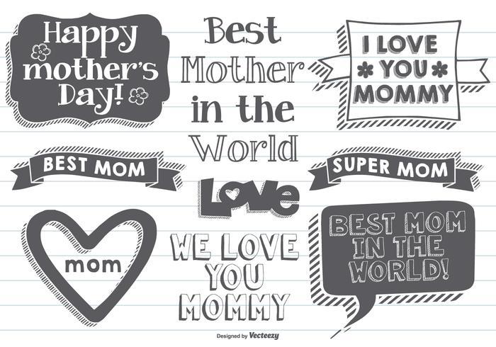 Etiquetas desenhadas à mão do dia das mães vetor