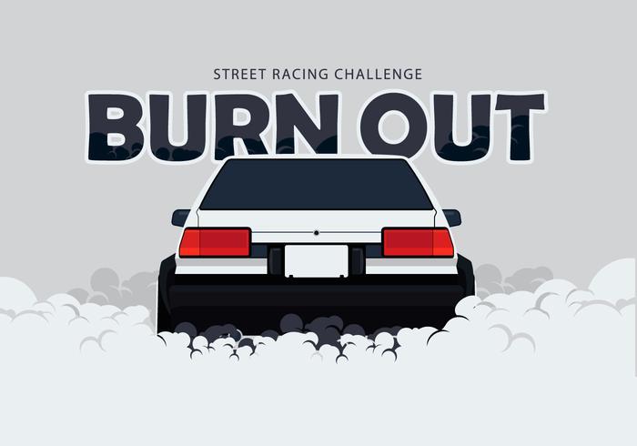 Ae86 carro drifting e burnout ilustração vetor