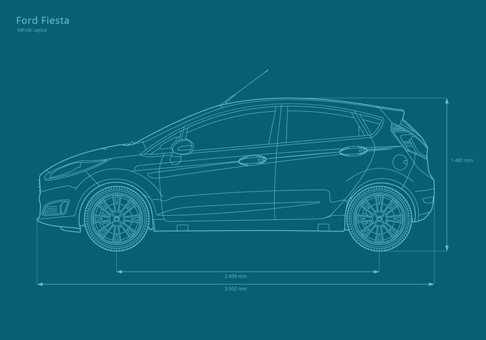 Ford fiesta layout do veículo vetor