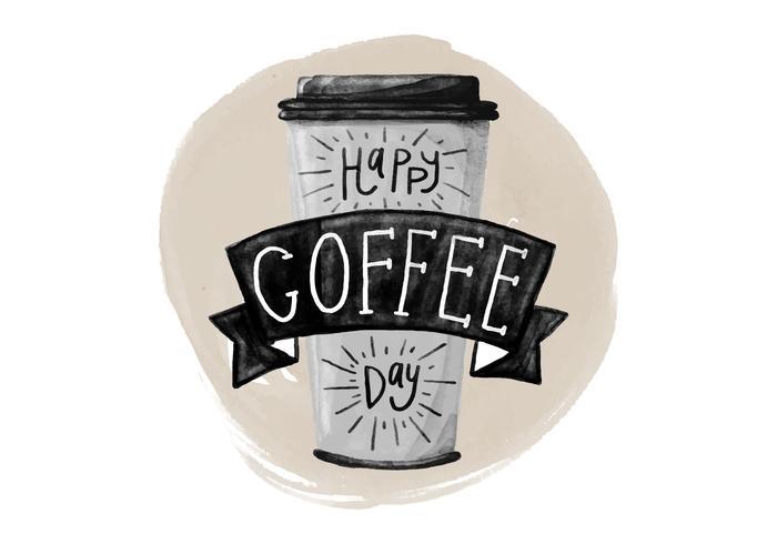 Free National Coffee Day Aquarela Vector