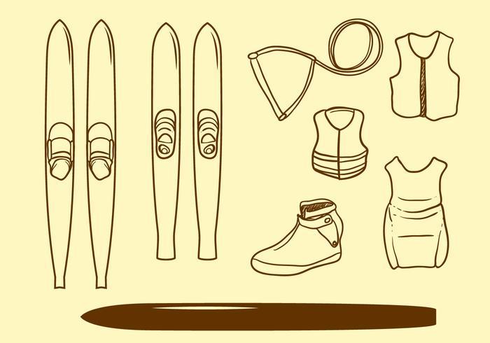 Vector de esqui aquático de mão desenhada livre