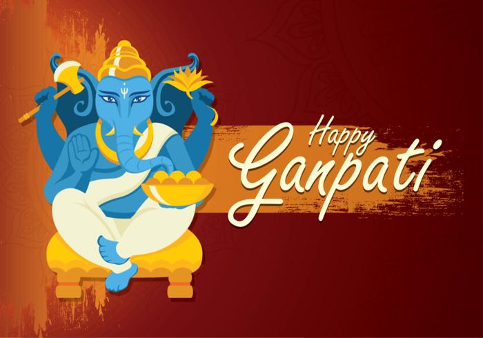 Ilustração feliz de Ganpati vetor