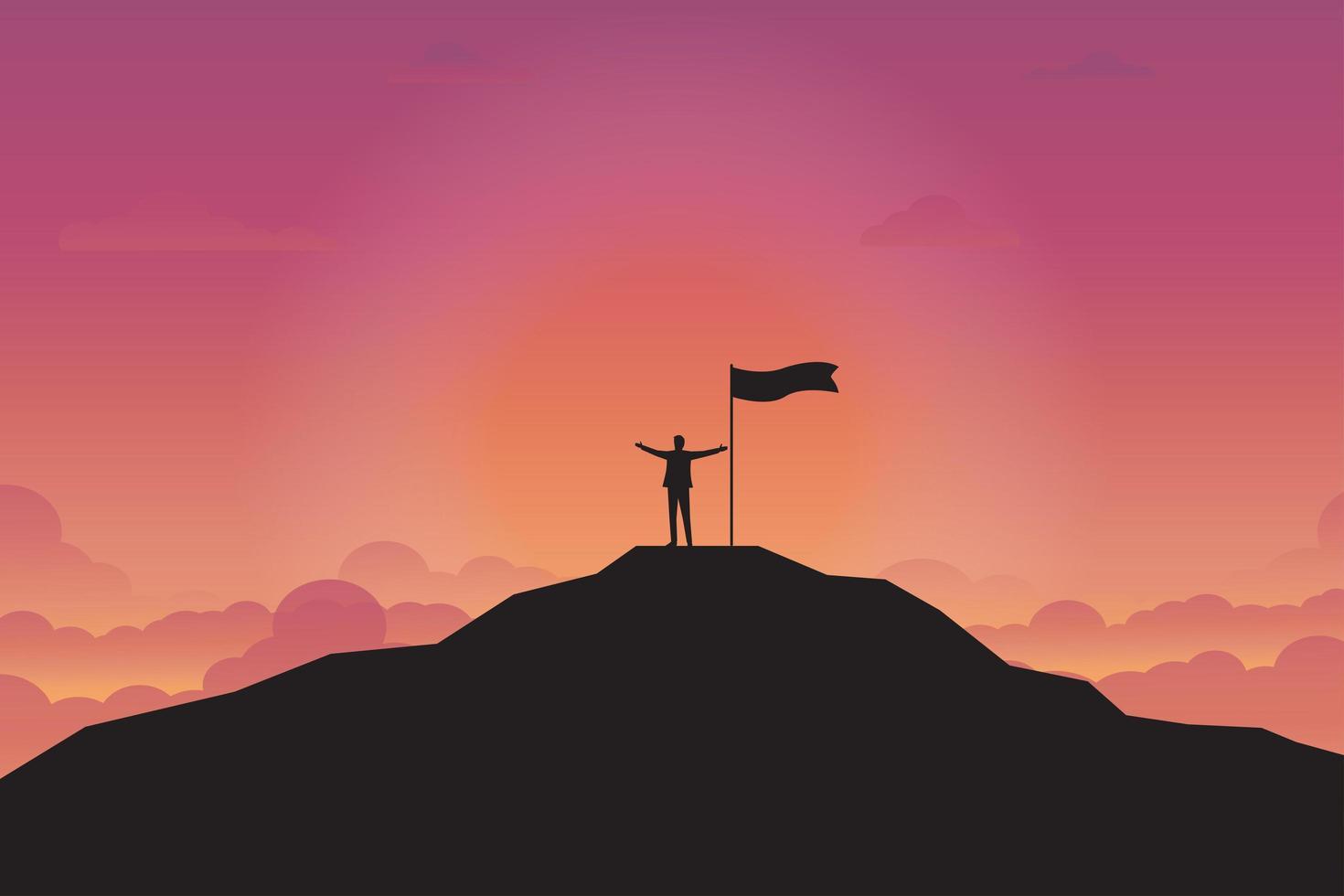 silhueta do empresário e bandeira no topo da montanha vetor