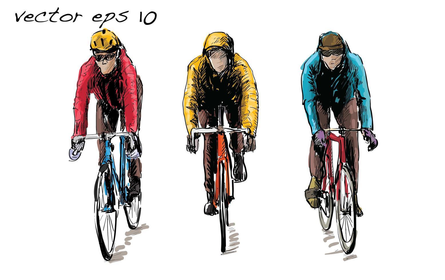 esboço de ciclistas andando em bicicletas de engrenagem fixa vetor