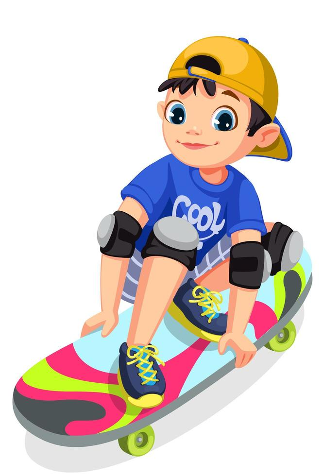 garoto legal no skate fazendo acrobacias vetor