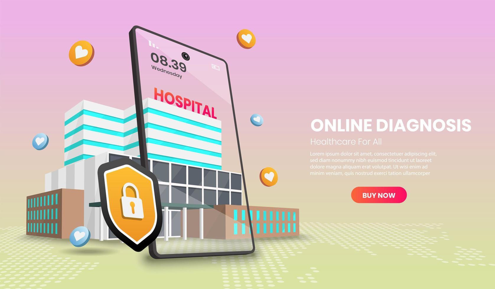 página da web de diagnóstico online vetor