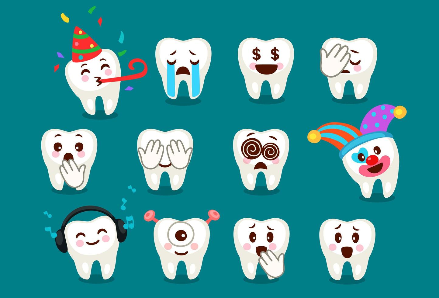 conjunto de expressões de emoji e emoticons de dente fofo vetor