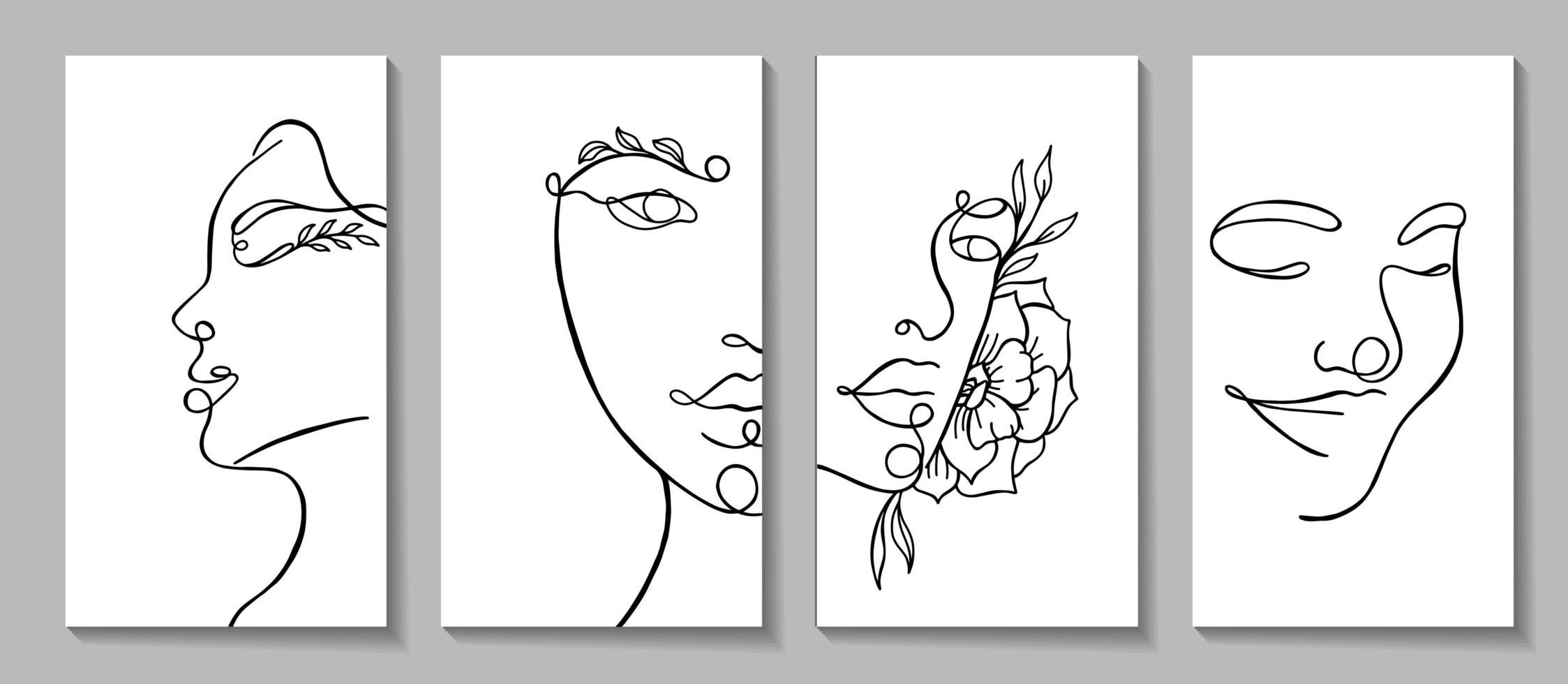 rosto de mulher com elementos florais desenho de uma linha vetor