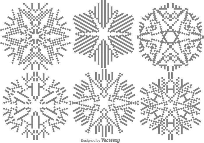 Conjunto de flocos de neve Pixelated vetor