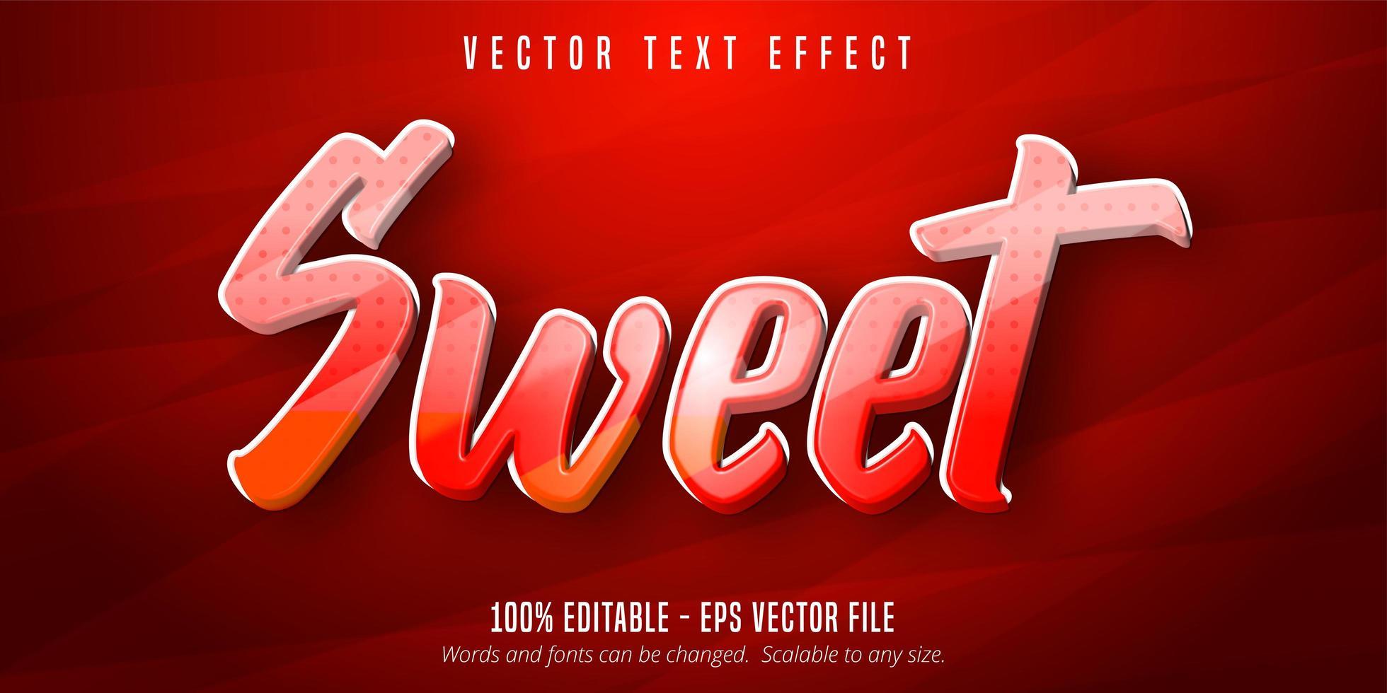 efeito de texto editável de estilo cartoon doce vermelho e laranja vetor