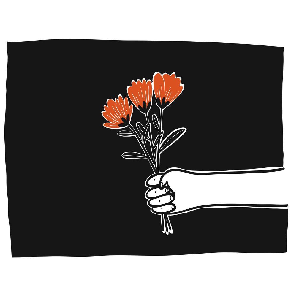 mão segurando flores vetor