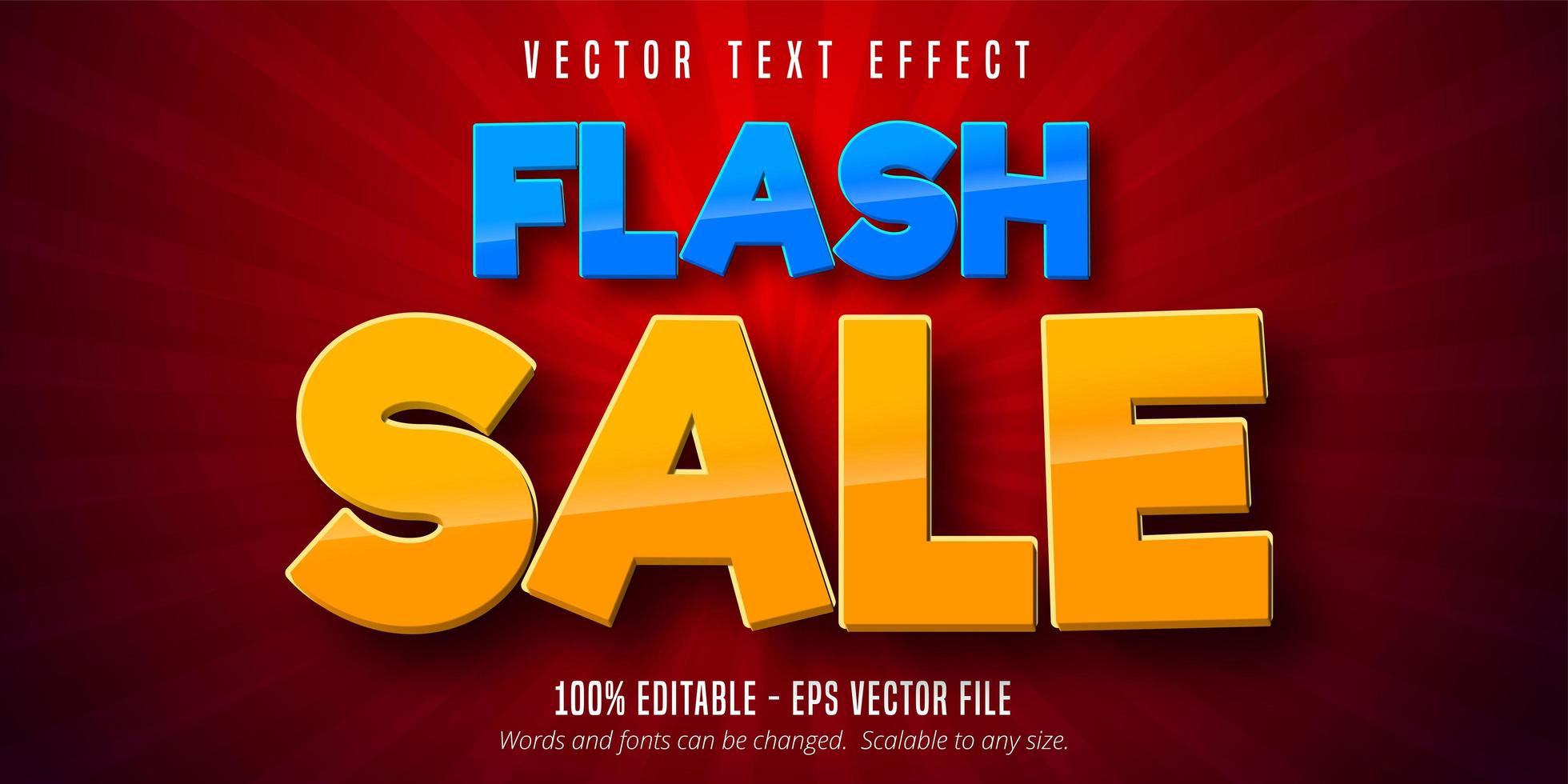 efeito de texto editável de venda em flash azul e laranja vetor
