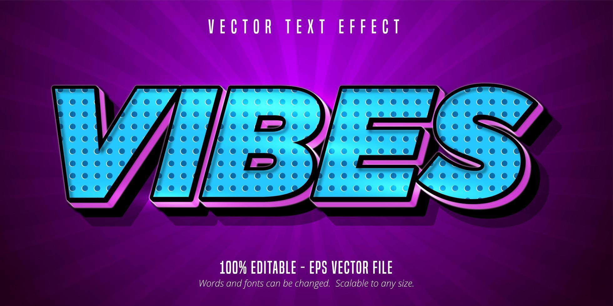efeito de texto editável de vibrações de meio-tom azul estilo cartoon vetor