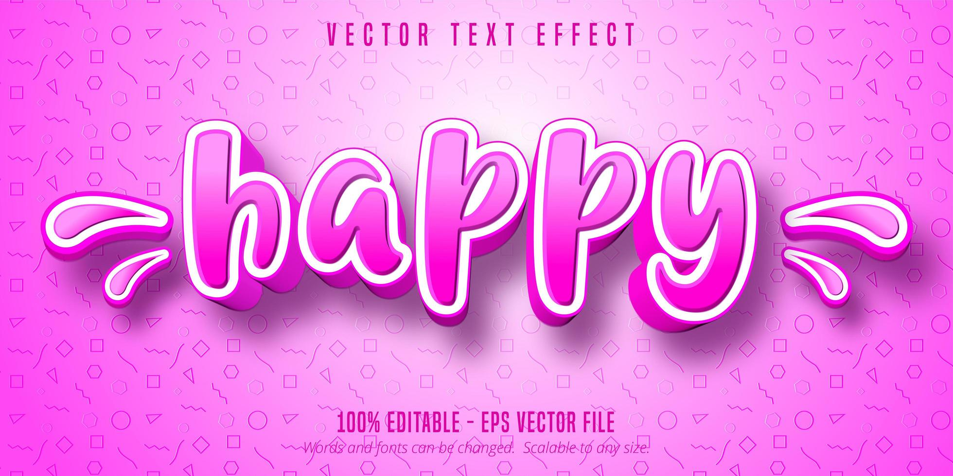 efeito de texto editável estilo cartoon feliz rosa e branco vetor