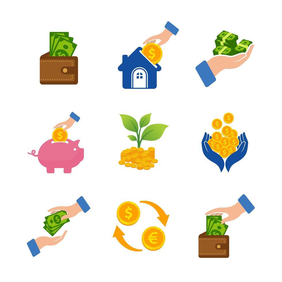 conjunto de ícones de investimento de dinheiro vetor