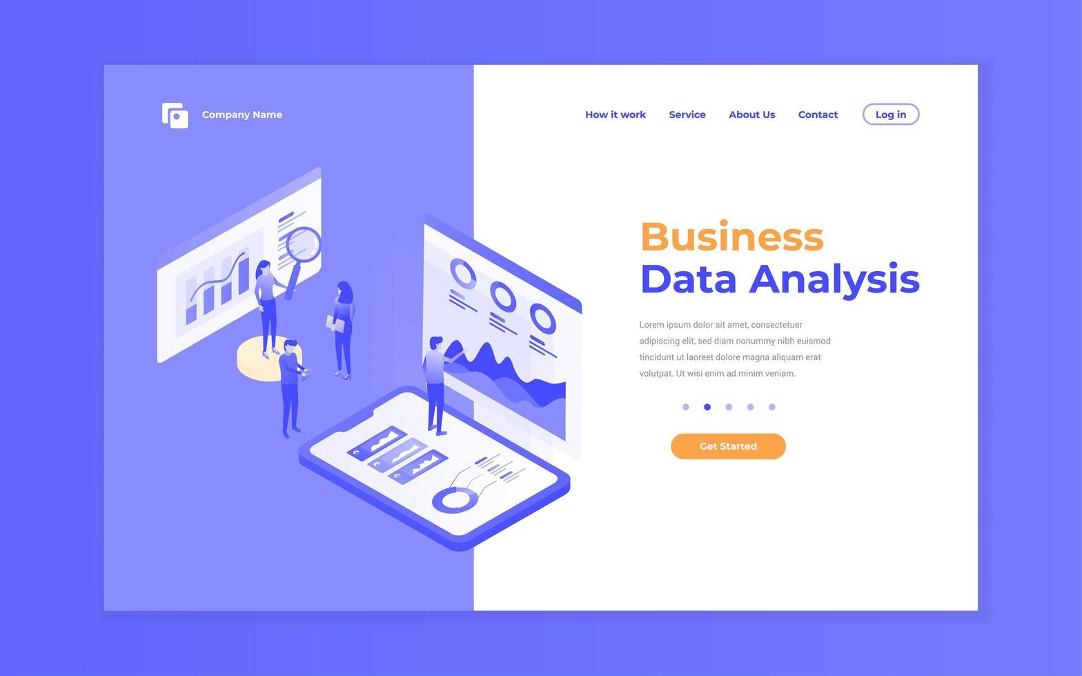 site de análise de dados roxo e conceito de site para celular vetor