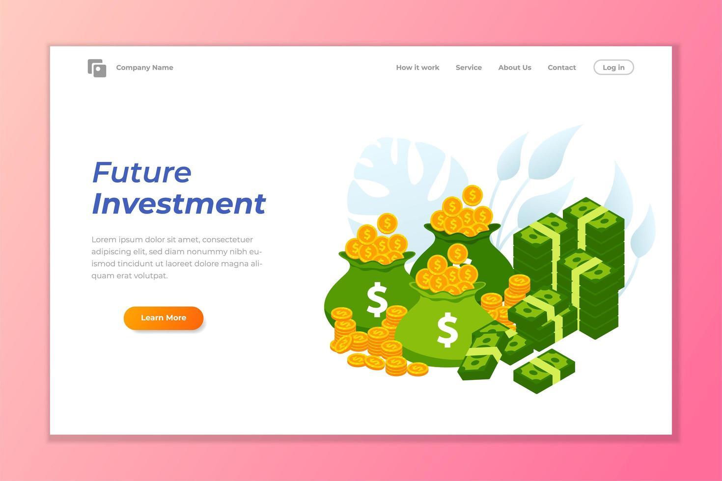 pilha de moedas e notas da página inicial de investimento futuro vetor