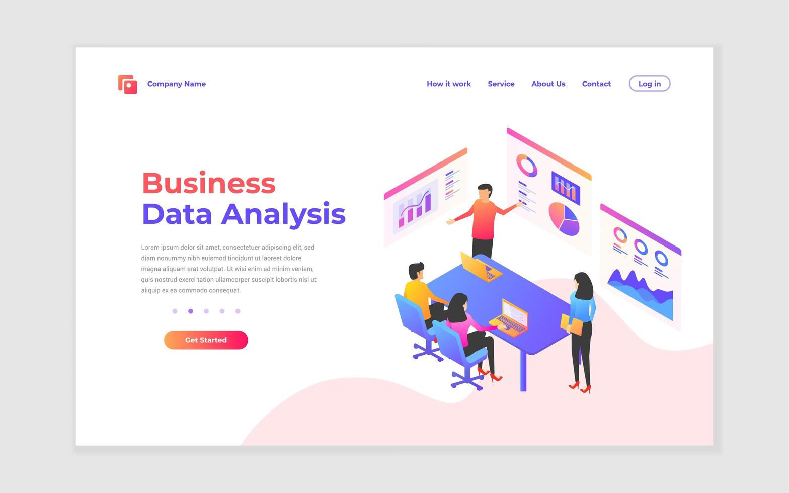página de destino de análise de negócios e estratégia vetor