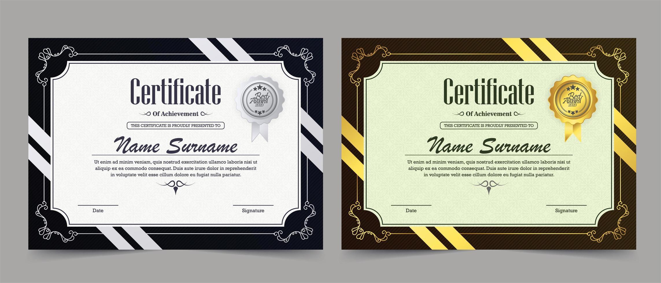conjunto clássico de certificado de prata e ouro vetor