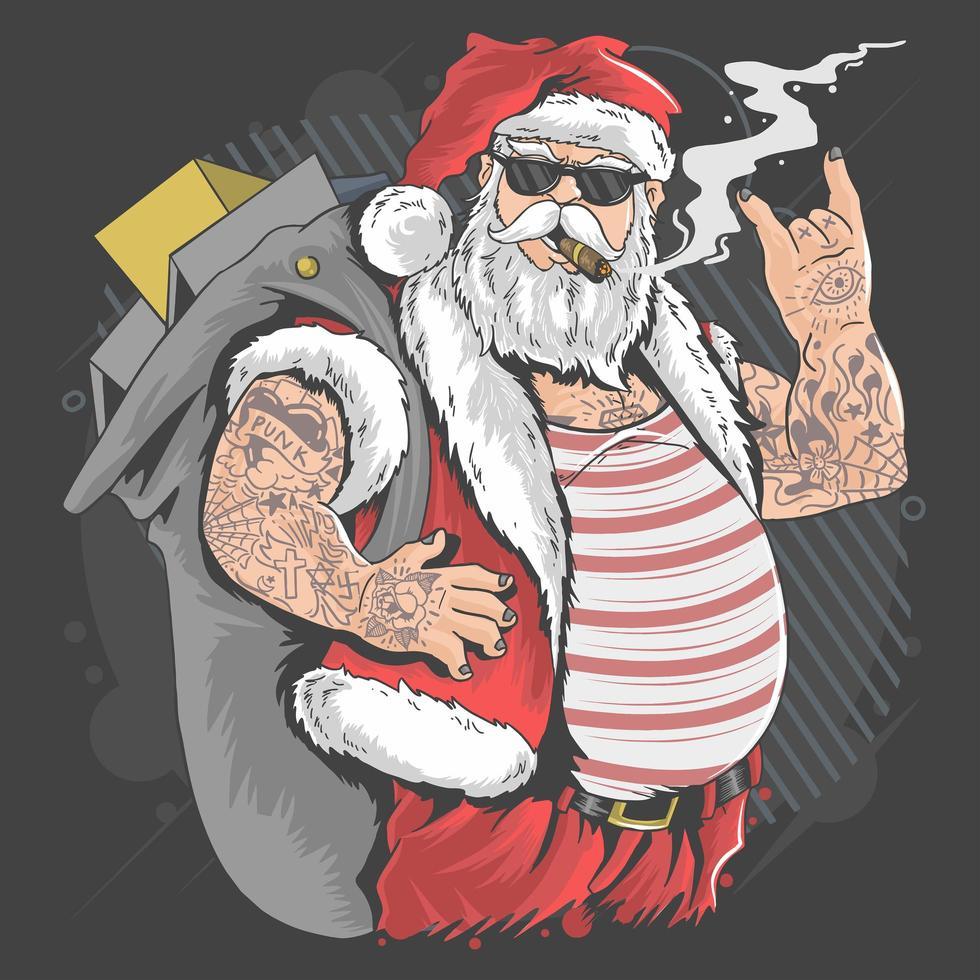 Papai Noel tatuado com mãos de rocker vetor